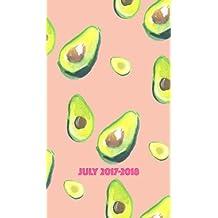 July 2017-2018 Planner: 18 month planner, 4x7 avacado design, happy heart, pocket calendar