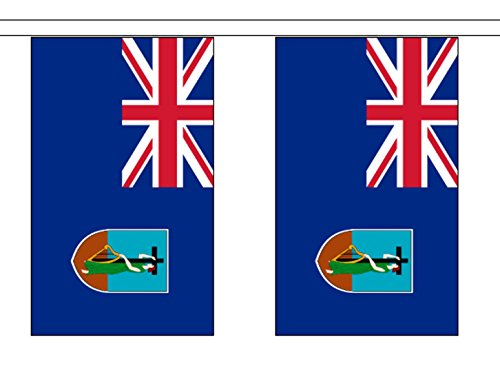 Montserrat String 10 Flag Polyester Material Bunting - 3m (10') Long