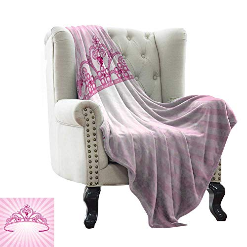 (WinfreyDecor Home Throw Blanket Beautiful Pink Fairy Princess Costume Print Crown with Diamond Image Art All Season for Couch or Bed 70