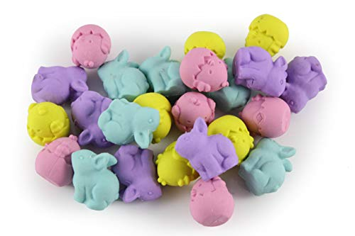 Curious Minds Busy Bags 24 Cute Chick and Bunny Erasers - Easter - Small Novelty Prize Toy - Party Favors - Gift - Bulk 2 Dozen