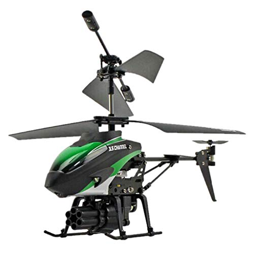 Ktyssp 3.5CH Helicopter RC Drone Remote Control Missile Aircraft Model Toy (Green)
