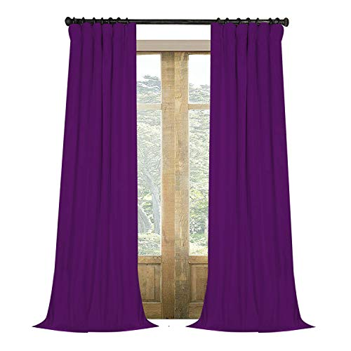 Artdix Velvet Blackout Curtains Panels Window Drapes - Eggplant 50W x 84L Inches (2 Panels) Nursery Insulated Solid Thermal Custom Blackout Curtains for Bedroom, Living Room, Kids Room, Kitchen