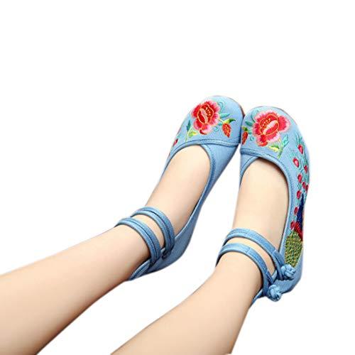 Cheville Pour Avec La Chaussures Yefree Femmes Chinoises Clair Bleu Fleurs Bride Brodées À xwTZOUvqXn