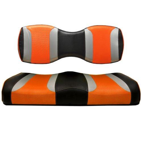 Madjax Tsunami Black W/Liquid Silver Rush & Orange Wave Custom Rear Seat Cushion by Madjax