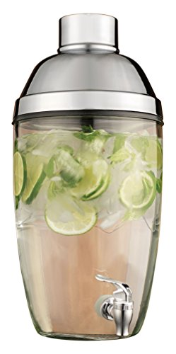Home Essentials & Beyond Mixology Shaker Design Beverage Dispenser, 1.8 gallon, Clear