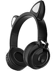 Queen.Y Cat Ear Hoofdtelefoon Bluetooth Draadloze Opvouwbare On-Ear Stereo Oortelefoon Headset met Microfoon LED Licht en Volumeregeling Ondersteuning Compatibel met Smartphones PC Tablet