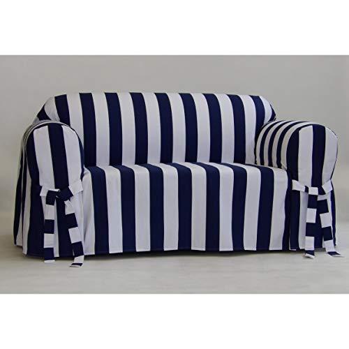 - Classic Slipcovers Cabana Stripe One Piece Sofa Slipcover Navy and White Stripe