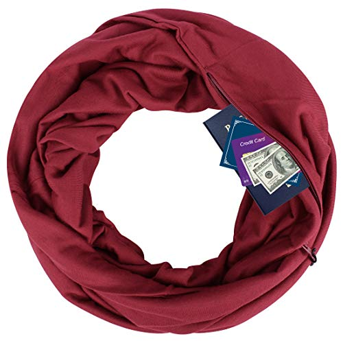 YOUR GALLERY Zipper Pocketed Travel Scarf,Infinity Scarf with Pocket,No Need Purse,Nursing Scarves ()