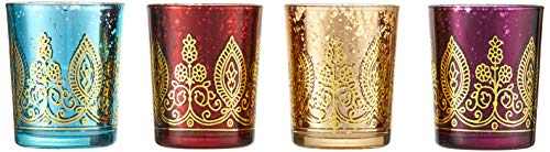 Kate Aspen Indian Jewel Henna Glass Votives, Tealight Candle Holders, Wedding Decorations/Favors,  Assorted Colors (Set of 4) - Votive Colored Holders