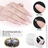 3 Clear UV Builder Gel Set, Saviland Nail Extension Gel Nail Art Manicure Set with Nail Form stickers Brush(8g/Box)