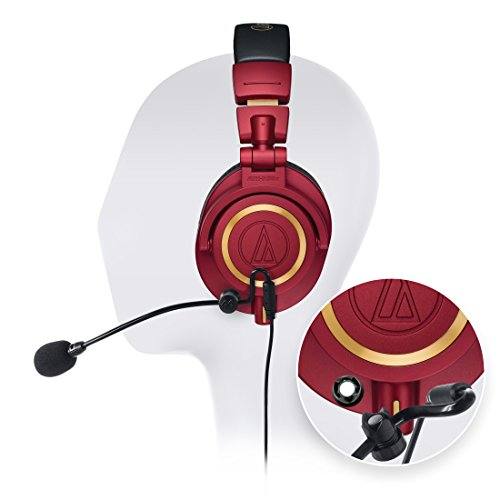 Audio-Technica ATH-M50xRD Professional Studio Headphones -INCLUDES- Antlion Audio ModMic 4 Uni-Directional Attachable Boom Mic w/ Mute Switch + Y Splitter - LIMITED EDITION GAMING BUNDLE by blucoil (Image #9)