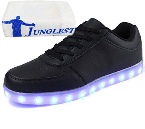 (Present:kleines Handtuch)JUNGLEST 7 Farbe LED Leuchtend Sport Schuhe Glow Sneakers USB Aufladen Turnschuhe für Unisex Herren Da Schwarz