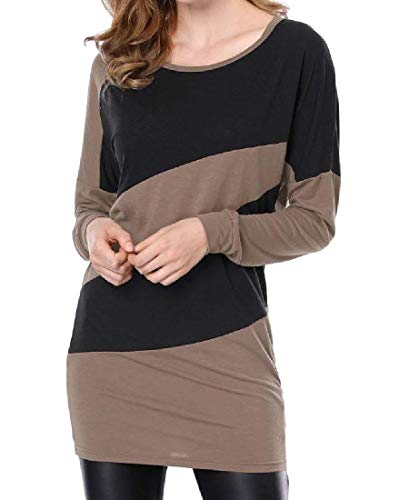 Long Color Sleeve Brown Contrast Dress Knitted Coolred Women Short Autumn Mini gEXHqH