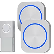 Door Bell, Cambond Waterproof Wireless Doorbell with 2 Receives Plug in, 1 Battery Operated Push Button, 500 Feet Operating Range 58 Ringtones 4 Volume Level LED Flash for Office Home Business, Silver