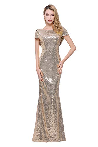 Sparkle Gold Sequind Bridesmaid Dresses Modest Long Prom Evening Gowns,Gold,8,8,Gold