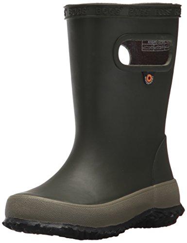 Bogs Kids Skipper Waterproof Rubber Rain Boot for Boys and Girls,Solid Dark Green,6 M US Toddler