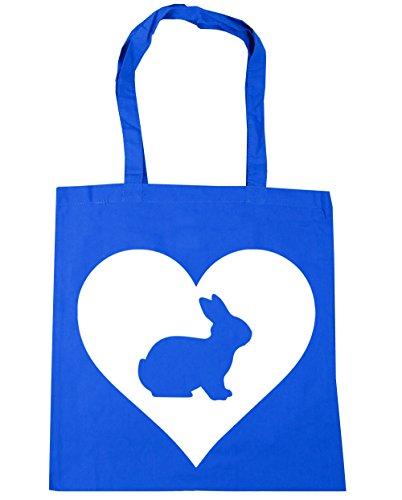 HippoWarehouse Corazón Conejo Bolso de Playa Bolsa Compra Con Asas para gimnasio 42cm x 38cm 10 litros capacidad Azul Aciano