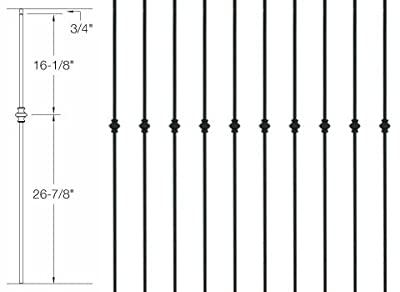 "Iron Balusters - Single Knuckle - Hollow - 44"" Tall - 1/2"" Square - Box of 10"