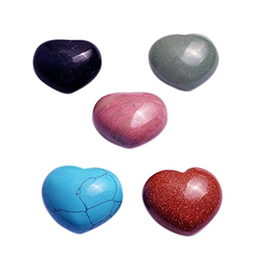 One Set(5 Pcs) 30mm Natural Gemstone Puff Heart Worry Healing Stone+ Free Fengshuisale Red String Bracelet SKU:W1253 (Gemstone Puff Heart)