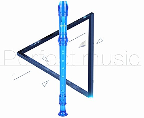 Large Product Image of Soprano Descant Recorder 8 Hole-3 Piece Kids Crystal Music Flute w/ Cleaning Rod Bag Instruction Blue