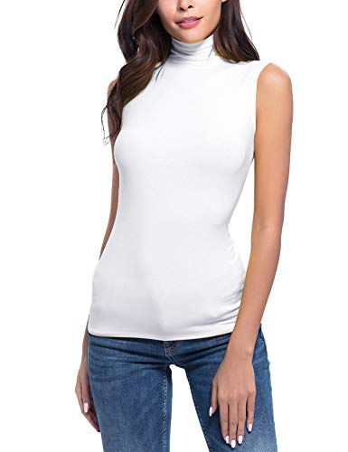 Oyamiki Women's Seamless Rib Knit Mock Turtleneck Sleeveless Top White/XXL ()