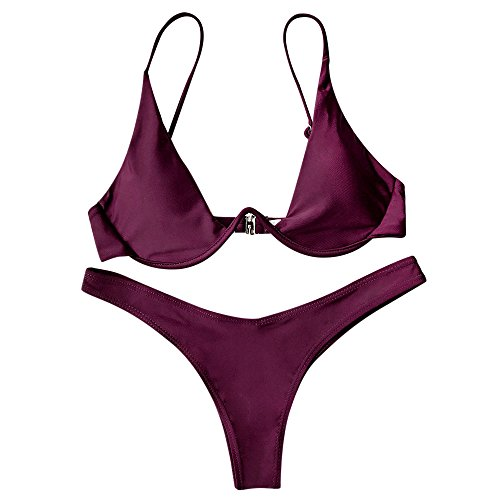 ZAFUL Womens Underwired Plunge Front Connect Bathing Pure Color Swimsuit