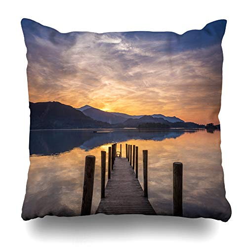 Ahawoso Throw Pillow Cover Square 16x16 Parks Lake Sun Setting Over Calm Derwent Water Cumbria District Sports Recreation Sunset Jetty Summer Zippered Cushion Case Home Decor Pillowcase ()