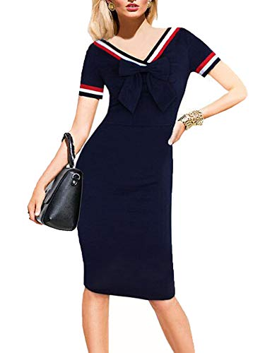 oxiuly Women's Print Dot Short Sleeve Bowknot V-Neck Casual Business Party Pencil Silm Bodycon Dress OX034 (Navy Blue, S)
