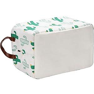Sea Team 16.5″ x 11.8″ x 9.8″ Square Natural Linen & Cotton Fabric Storage Bins Shelves Storage Baskets Organizers for Nursery & Kid's Room (Cactus)