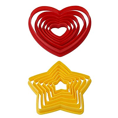 Cookie Tools - 6pcs Set Heart Star Shaped Plastic Cookie Cake Moulds Cutter Biscuit Stamp Sugar Craft Decoration - Cutters Small Assortment Love Dinosaur Gold Animals Letter Crown Elmo Number