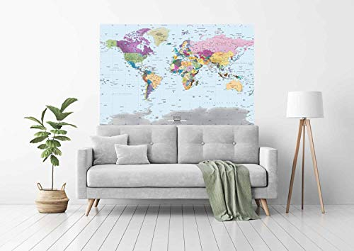Academia Maps World Map Wall Mural - Modern Colorful Map - 62 x 42 One-Piece Premium Self-Adhesive Fabric - Professional-Grade DIY by Academia Maps (Image #1)