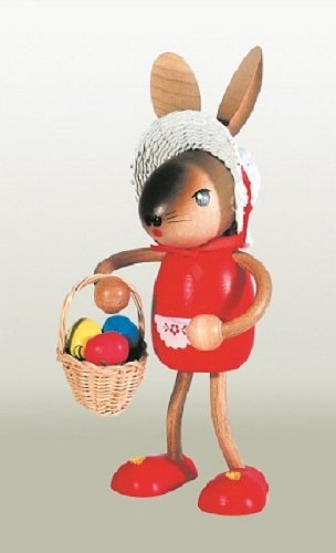Easter Bunny Rabbit Girl with Basket German Wooden Figurine
