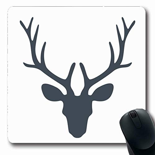Moose Trophy Antler - Ahawoso Mousepad Oblong 7.9x9.8 Inches Deer Christmas Head Reindeer Moose Trophy Antler Stag Beast Black Design Office Computer Laptop Notebook Mouse Pad,Non-Slip Rubber