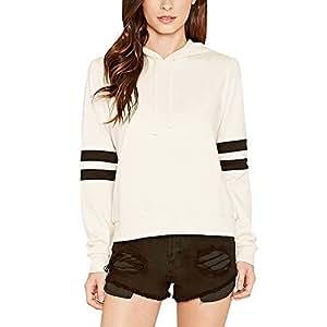 wlgreatsp Women's Striped Hoodie O Neck Pullover Jumper Coat Jumper Coat White M