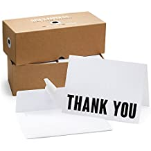100 Letterpress Thank You Cards and Self Seal Envelopes - Opie's Paper Company (Black and White)
