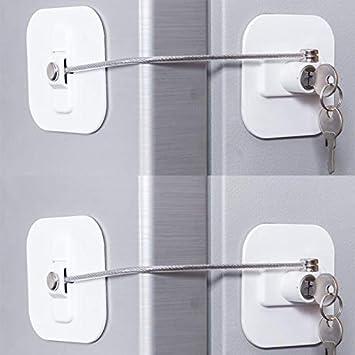 White Fridge Lock-2Pack Refrigerator Locks,Fridge Lock,Freezer Lock with Key for Child Safety,Locks to Lock Fridge and Cabinets