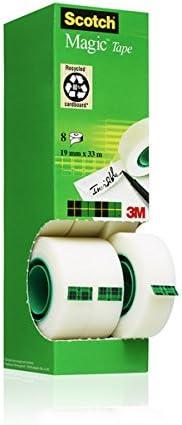 3M Scotch Magic - Cinta adhesiva transparente 19 mm x 33 m, adhesivo para etiquetar, acabado mate, paquete de 8 rollos