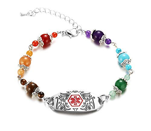 JF.JEWELRY Vintage Beads & Stainless Steel Tag Medical Alert ID Strand Bracelet for Women, Free Engraving,Adjustable