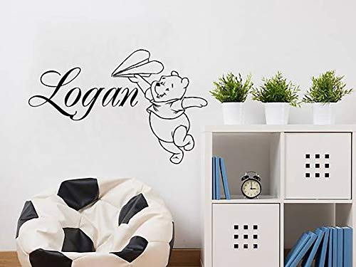 Winnie the Pooh Wall Decal Custom Name Bear Aircraft Vinyl Stickers Personalized Boys Name Nursery Bedroom Decor NV122 from Creative_Decals