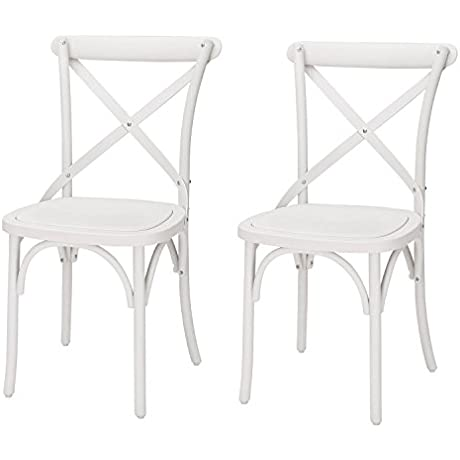 Adeco Econ Friendly Nylon Vintage Style Dining Chair Curved Leg Cross Back French White Set Of 2