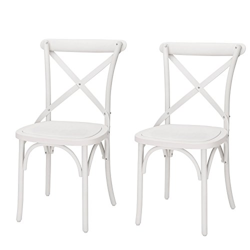 Adeco Econ-Friendly Nylon Vintage-Style Dining Chair Curved Leg Cross Back, French White (Set of 2) (Chairs Cross Back Kitchen)
