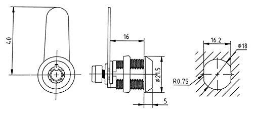 Tubular Cam Lock with 5/8'' Cylinder and Chrome Finish, Keyed Alike (Pack of 10) by Products Quad (Image #1)