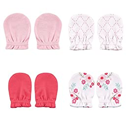4-Pack Scratch Mittens, Pink Floral