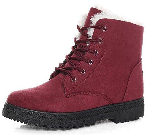 WUIWUIYU Unisex Men's Women's Lace-up Retro Winter Warm Ankle Snow Boots Dark Red