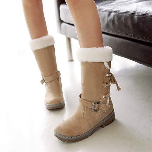 Bas Noir Neige Jaune Haut Doublure Marron Chaussures Neoker Mode Boots Femme Beige Rond Hiver Bottes 35 Lacets Plate Courts Lacet Chaud De 46 qwtXCBtT