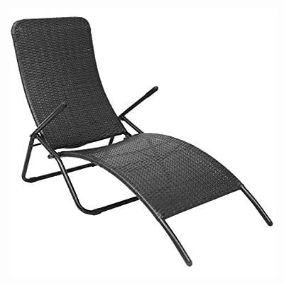 K&A Company Sunlounger, Folding Sun Lounger Poly Rattan Black