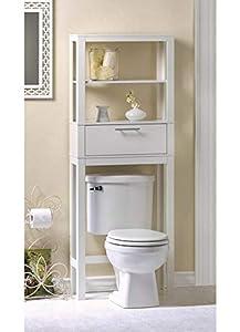 """Wood Toilet Storage - 62"""" H Over The Toilet Storage - White"""