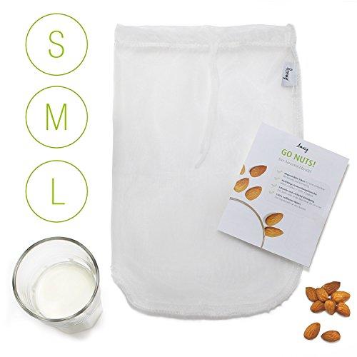 Amazy Nussmilchbeutel - Das vielseitige Passiertuch ideal für Nussmilch, Frucht- und Gemüsesäfte und Smoothies (30x30cm | 12