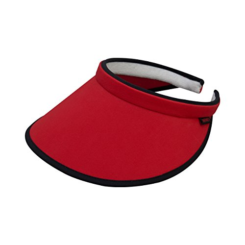 - MG Women's Brushed Cotton Clip-On Visor-4129-RED-BLK
