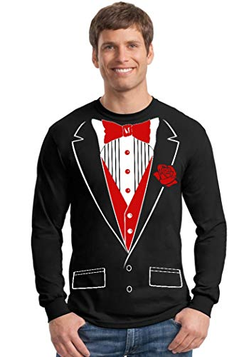 Promotion & Beyond Tuxedo Red Rose Funny Long Sleeve Shirt, S, Black